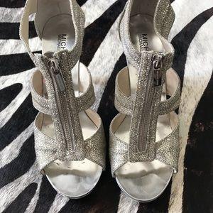 Michael Kors Silver Glitter Berkly Heels